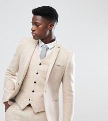 Noak Skinny Suit Jacket In Harris Tweed - Beige