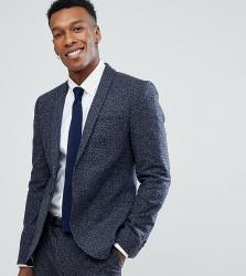 Noak Skinny Suit Jacket In Polka Dot Fleck - Navy