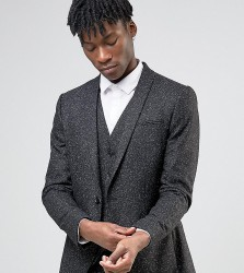 Noak Skinny Suit Jacket with Shawl Lapel & Fleck - Black