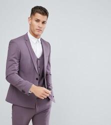 Noak Skinny Suit Jacket With Square Hem - Purple