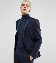 Noak Skinny Tuxedo Jacket in Geo Print - Navy
