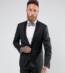 Noak Skinny Tuxedo Jacket with Satin Shawl Lapel - Black