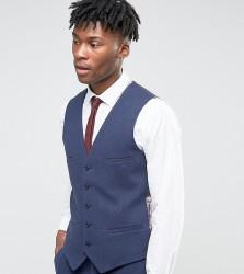 Noak Skinny Waistcoat In Flannel - Navy