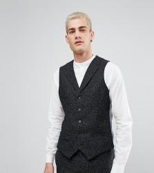 Noak Skinny Waistcoat in Fleck - Black