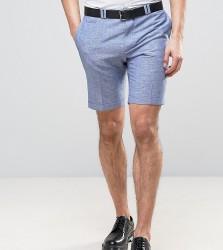 Noak Skinny Wedding Smart Shorts In Linen Nepp - Blue