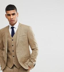 Noak Skinny Wedding Suit Jacket In Fleck - Stone