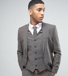Noak Skinny Wedding Suit Jacket In Linen Nepp - Brown