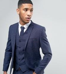 Noak Skinny Wedding Suit Jacket In Linen Nepp - Navy
