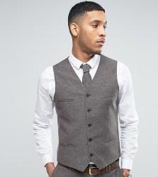 Noak Skinny Wedding Suit Waistcoat In Linen Nepp - Brown
