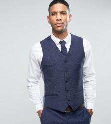 Noak Skinny Wedding Suit Waistcoat In Linen Nepp - Navy