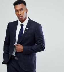 Noak Slim Stretch Suit Jacket In Grid Check - Navy