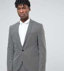 Noak Slim Suit Jacket In Monochrome Texture - Black
