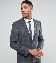 Noak Slim Suit Jacket With Square Hem - Grey