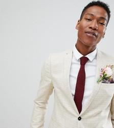 Noak slim wedding suit jacket in check - Cream
