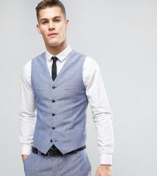 Noak Slim Wedding Suit Waistcoat In Linen Nepp - Blue