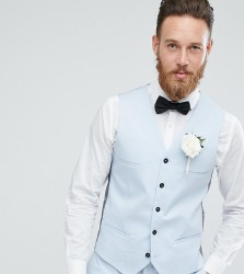 Noak Slim Wedding Waistcoat in Ice Blue - Blue