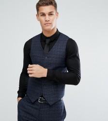 Noak Slim Wedding Waistcoat in Texture - Navy