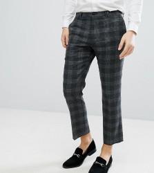 Noak Slim Wool Mix Cropped Trouser In Grey - Grey