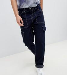Noak straight leg cargo trousers in dark navy with white stitching - Navy