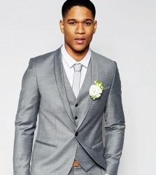 Noak Summer Flannel Wedding Suit Jacket in Super Skinny Fit - Grey