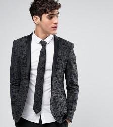 Noak Super Skinny Blazer with Satin Shawl Lapel - Grey
