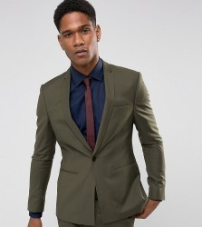 Noak Super Skinny Suit Jacket with Square Hem in Khaki - Green