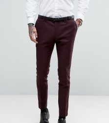 Noak Super Skinny Suit Trousers With Lux Tonal Print - Red