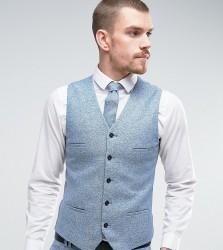 Noak Super Skinny Waistcoat In Fleck Wool - Blue