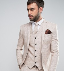 Noak Super Skinny Wedding Suit Jacket In Fleck Wool - Beige