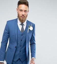 Noak Super Skinny Wedding Suit Jacket with Square Hem in Blue - Blue