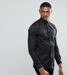 Noak TALL Skinny Shirt With Bluff Collar - Black