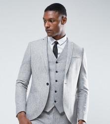 Noak TALL Skinny Suit Jacket in Fleck Donegal - Grey