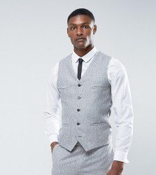 Noak TALL Skinny Waistcoat in Fleck Donegal - Grey