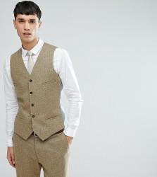 Noak TALL Skinny Waistcoat In Fleck - Stone