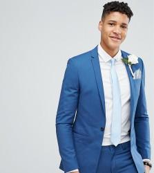 Noak TALL Super Skinny Wedding Suit Jacket with Square Hem in Blue - Blue