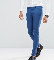 Noak TALL Super Skinny Wedding Suit Trouser in Blue - Blue