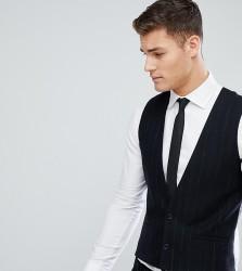 Noak Tapered Waistcoat With Straight Hem In Stripe - Navy