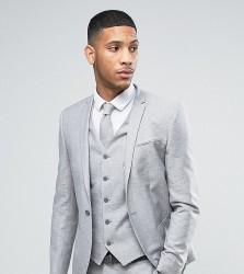 Noak Wedding Skinny Suit Jacket In Linen Nepp - Grey