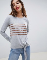 Nocozo 3/4 sleeve gold striped christmas tee with tie front - Grey