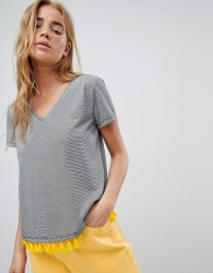Nocozo Crop T-Shirt in Stripe with Contrast Fringing - Black