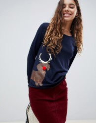 Nocozo long sleeve christmas t-shirt in navy with reindeer - Navy
