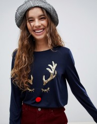 Nocozo long sleeve christmas t-shirt with gold sequin reindeer with red pom pom nose - Navy