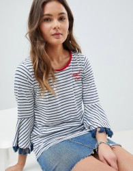 Nocozo Stripe Top with Fringe Sleeve and Embroidered Slogan - Navy