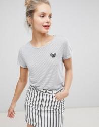 Nocozo Stripe Tshirt With Embroidered Pug Badge - Grey