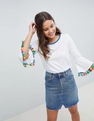 Nocozo T-Shirt with Fringe Sleeve - White