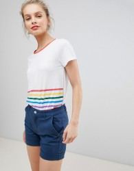 Nocozo T Shirt with Rainbow Foil Stripe Mix - White