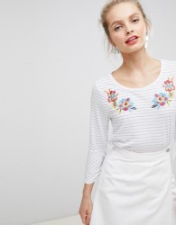 Nocozo Top in Yarn Dye Stripe with Floral Embroidery - Grey