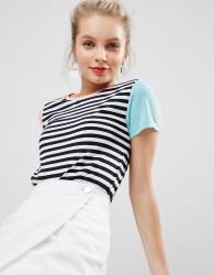 Nocozo Tshirt in Stripe with Colourblock Sleeves - Multi