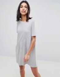 Noisy May Asymmetric Jersey Dress - Grey