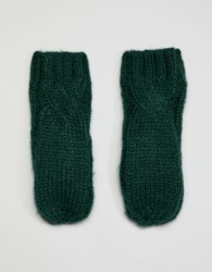 Noisy May cable knitted mittens - Green